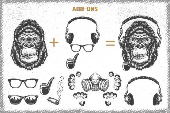 Set of gorillas