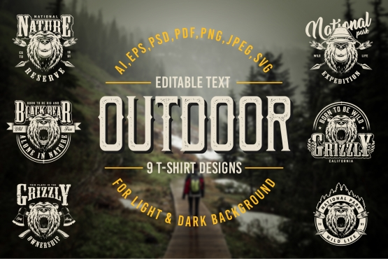 Vintage Outdoor t-shirt designs cover with wild life and national park emblems