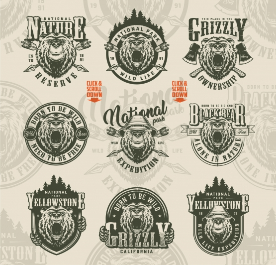 Old school style outdoor badges set with angry and serious bear heads, crossed arrows and axes on light background