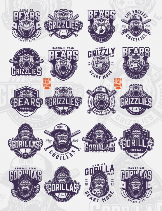 Vintage sport clubs badges set with angry gorilla and bear heads, balls, crossed baseball bats and hockey sticks