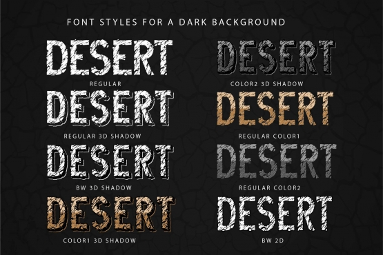 Examples of Desert Rock font styles for a dark background with different effects