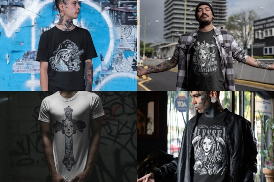 Examples of usage Chicano tattoo style designs on four t-shirt mockups with tattooed men with urban background