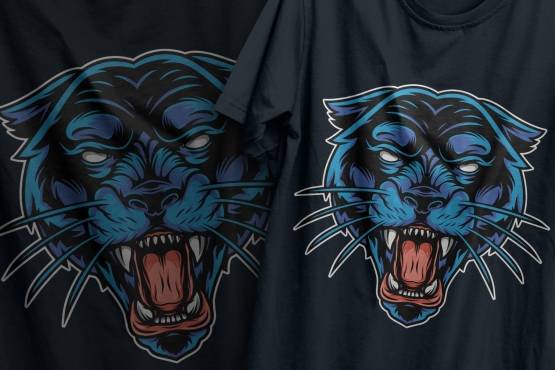 Colorful vintage angry black panther head design printing on t-shirts