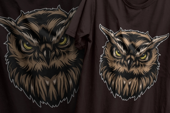 Colorful design of serious wise owl head in vintage style printing on t-shirts