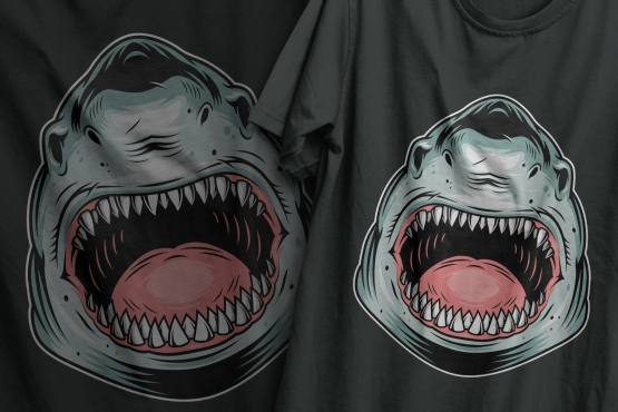 The old school style colorful design of aggressive shark printing on t-shirts