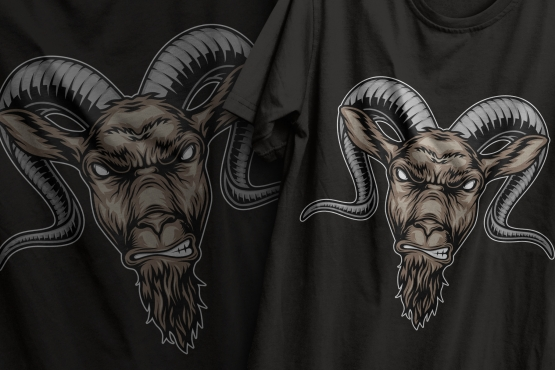 Colorful design of angry aggressive goat head in vintage style printing on t-shirts