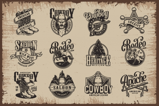 Authentic Wild West designs set with cowboy hat and boots, gun, sheriff badge, flint arrowhead, man riding horse, horseshoe, saloon signboard and swinging doors, crossed smoking pipes