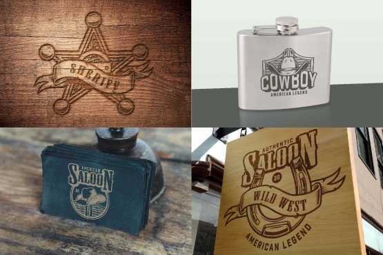 Vintage Wild West designs printing on wooden surface, metal flask and business card