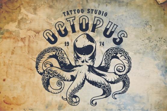 Nautical design with octopus and mooring font as a headline
