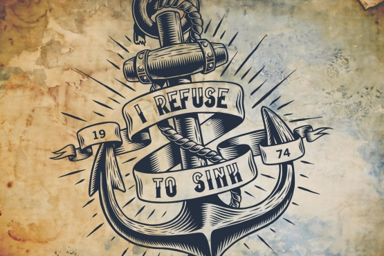 The authentic nautical label with ship anchor and mooring tattoo typeface as a headline