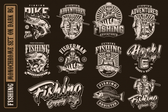 11 fishing monochrome designs on dark background with different vector illustrations and tex