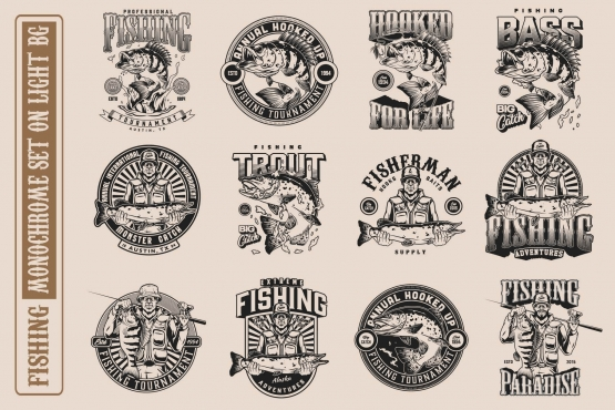 12 fishing monochrome designs on light background with different vector illustrations and text