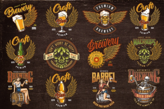12 beer colored designs on dark background with different vector illustrations and text