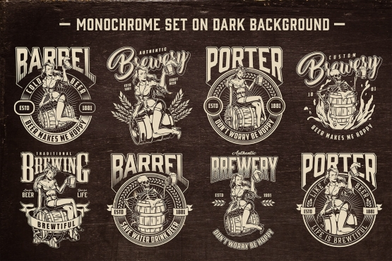 8 beer black and white designs on dark background with different vector illustrations and text