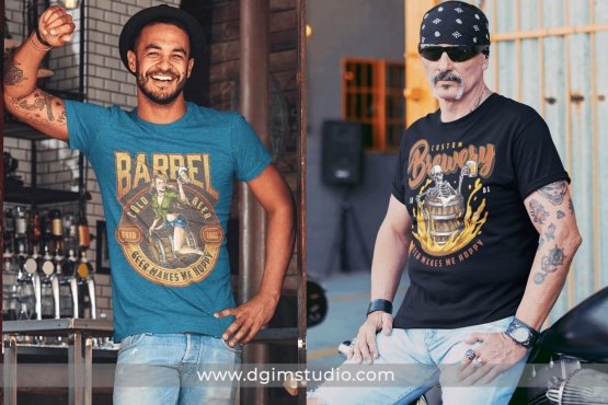 2 beer t-shirt designs mockups with 2 men