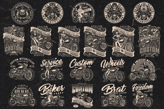 21 motorcycle black and white designs on dark background with different vector illustrations and text