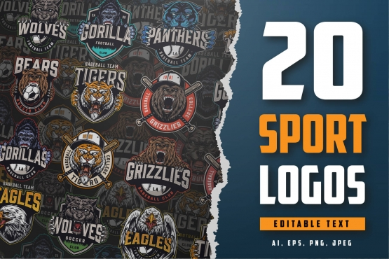 20 Sport logos bundle cover with different animal illustrations.