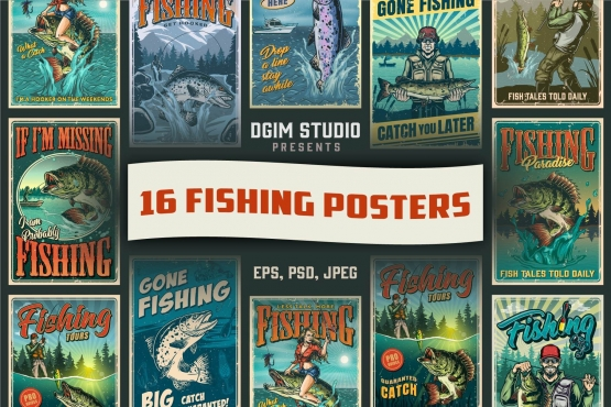 16 Fishing posters bundle cover with different illustrations and text