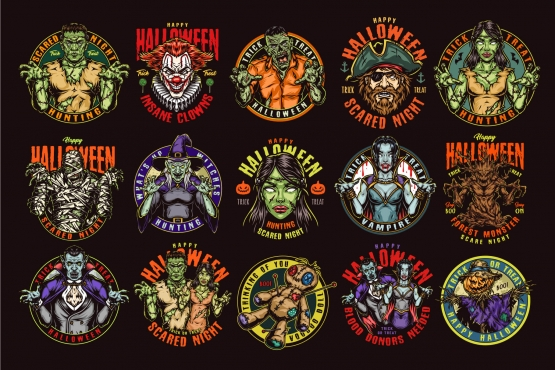 15 Halloween colored designs on dark background with different vector illustrations and text