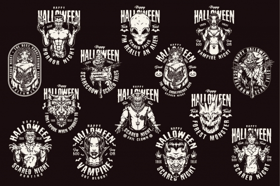 14 Halloween black and white designs on dark background with different vector illustrations and text