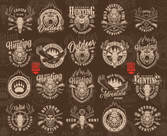 Vintage hunting monochrome style designs with bear and boar heads, flying eagle, deer and hunter skulls, crossed arrows, guns, rifle sight, forest silhouette