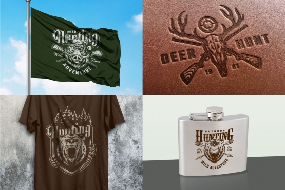 Hunting and fishing mockups concept with vintage hunting badges using for printing on leather surface, flag, hip flask and t-shirt designs