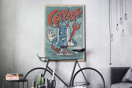 Colorful vintage college poster with cute character of devil condom hanging on the wall