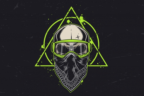 Motorcross skull in bandana and goggles on a grunge background