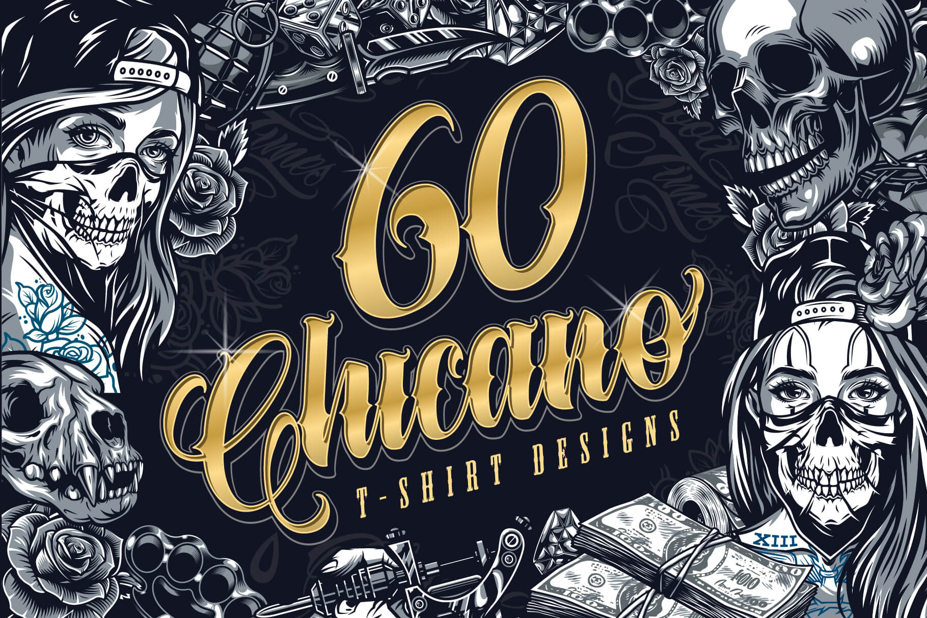 Chicano Tattoo Style 60 Vector Designs Bundle